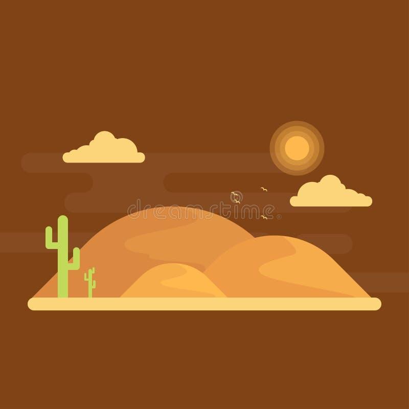Gröna kakturs växer bland sanderna dyn på horisont under den ljusa solen stock illustrationer
