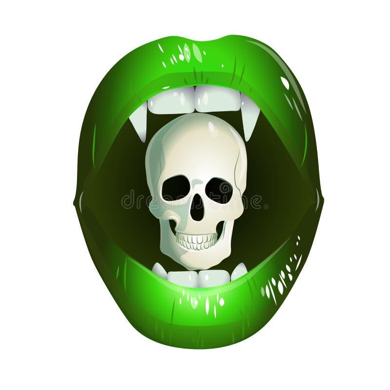 Gröna kanter av en vampyr med en skalle vektor illustrationer