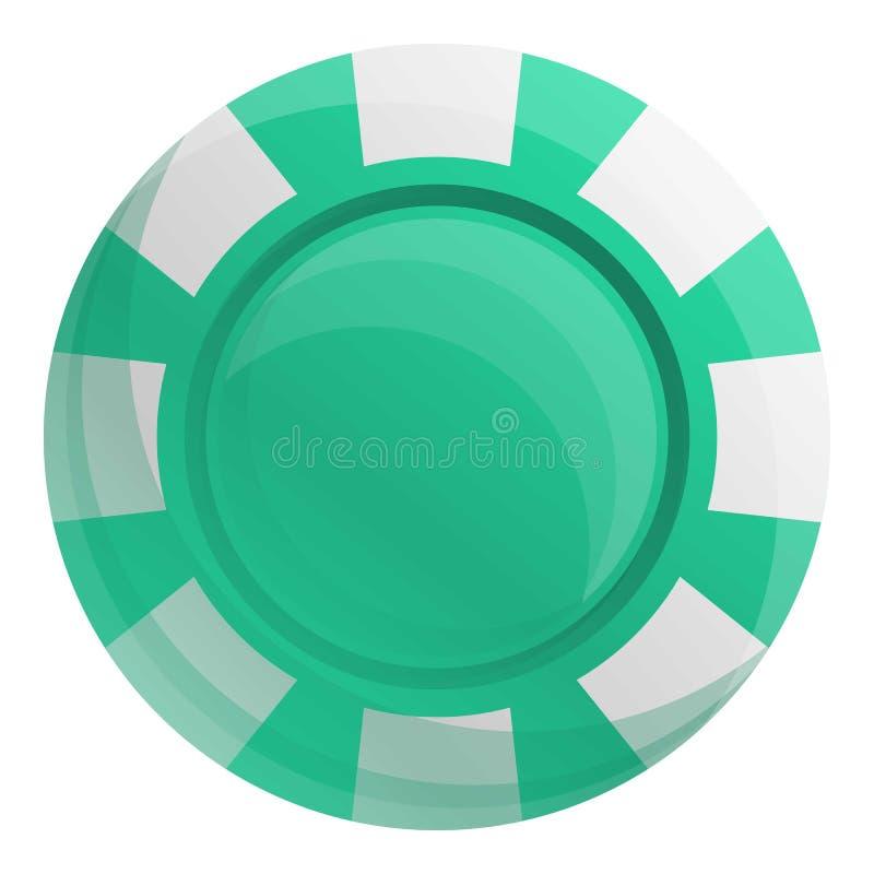Gröna kasinochiper symbol, tecknad filmstil royaltyfri illustrationer