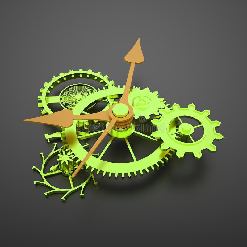 Gröna klockamekanismkugghjul med orange pilar stock illustrationer