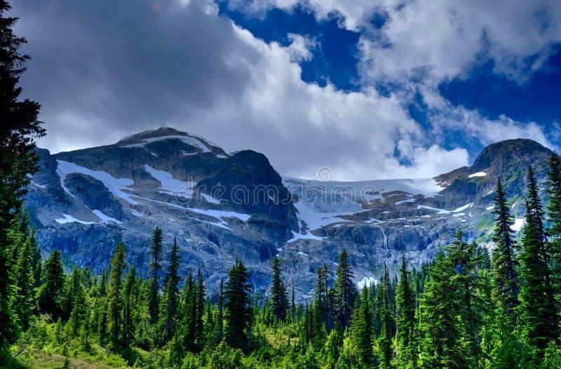 Gröna korkade berg för skog och för snö efter storm arkivfoton