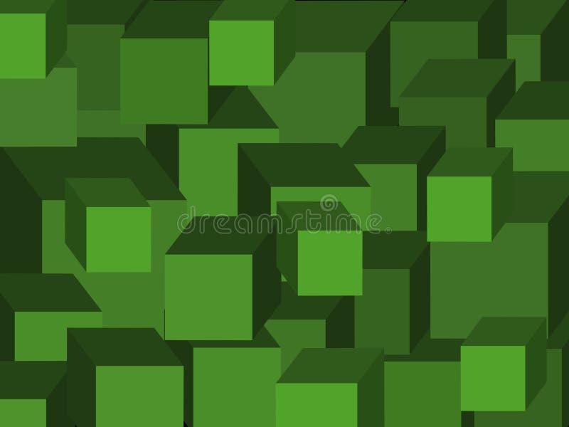 Gröna kuber vektor vektor illustrationer