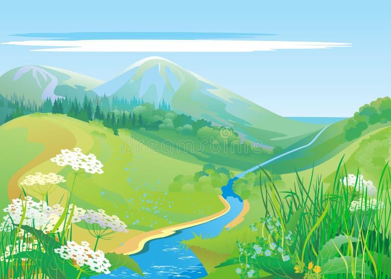 gröna kullar vektor illustrationer