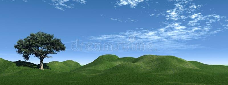gröna kullar stock illustrationer