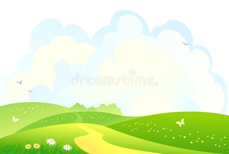 gröna kullar för bakgrund stock illustrationer