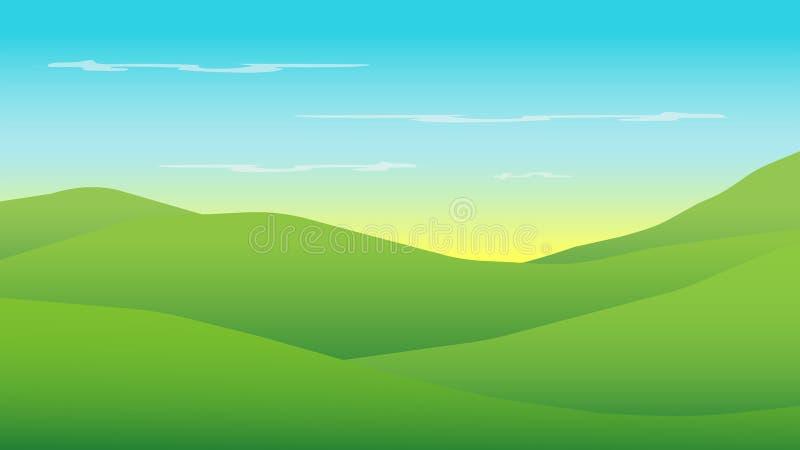 Gröna kullar i morgon med soluppgång; landslandskapbakgrund stock illustrationer