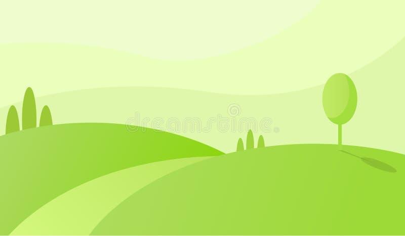 Gröna kullar med vägen som leder till horisonten Grönt fältmorgonlandskap royaltyfri illustrationer