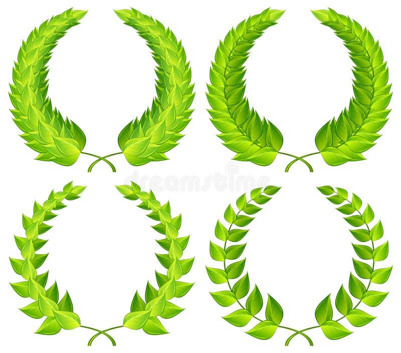 gröna lagrarkranar vektor illustrationer