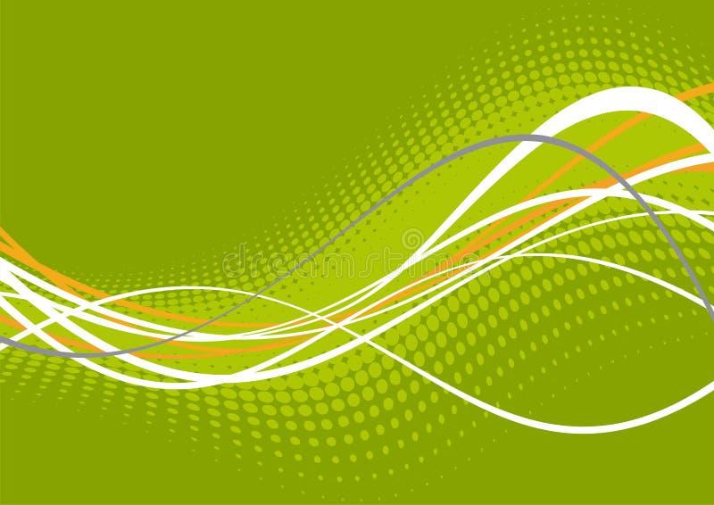 gröna linjer wavy white royaltyfri illustrationer