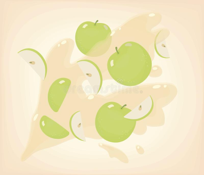 Gröna ljusa snittskivor med solrosfrö och runda äpplen som flyger mot en bakgrund av skinande fruktsaft för äppleguling med splas vektor illustrationer