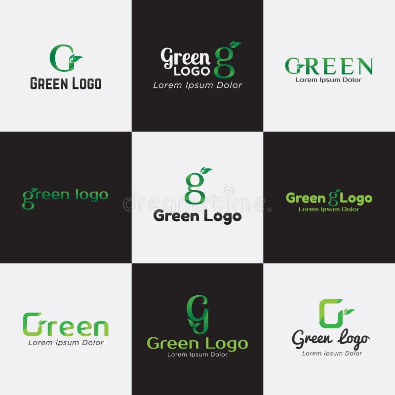 Gröna Logo Bundle Template för Affär, Företag, Asssociation, gemenskap och produkt stock illustrationer