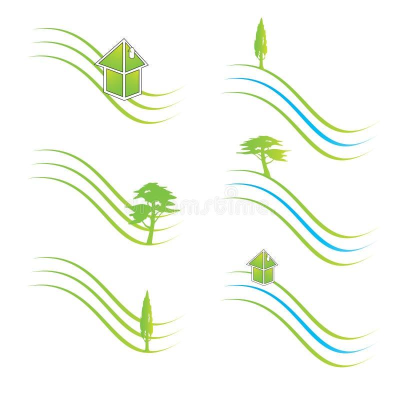 gröna logoer stock illustrationer