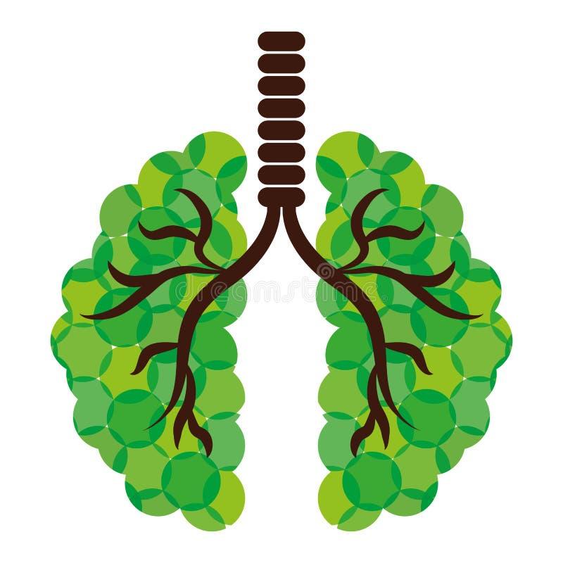 Gröna lungor av filialsymbolsbilden royaltyfri illustrationer
