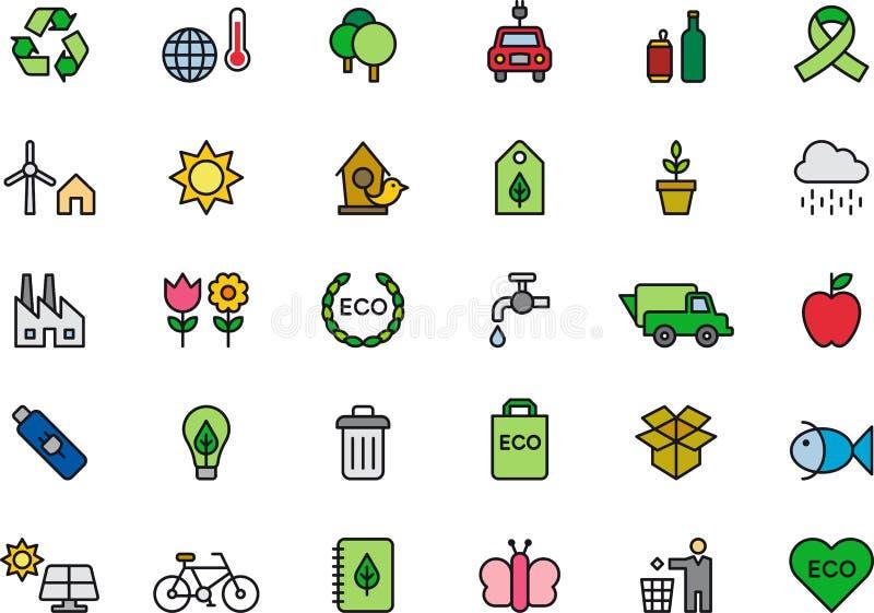 Gröna miljö- eller ekologisymboler royaltyfri illustrationer