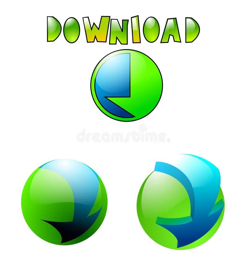 Gröna nedladdningsymboler stock illustrationer
