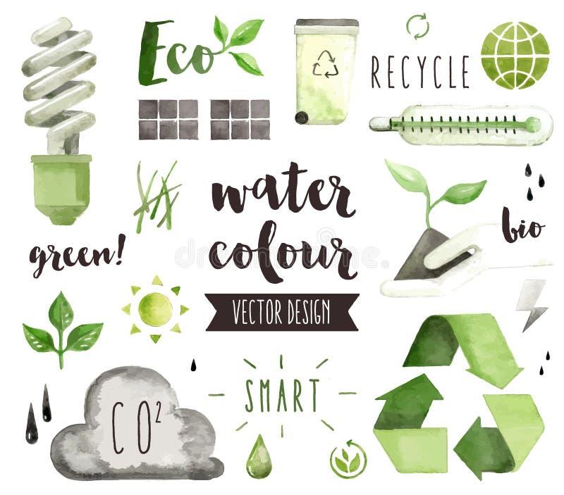 Gröna objekt för energivattenfärgvektor royaltyfri illustrationer