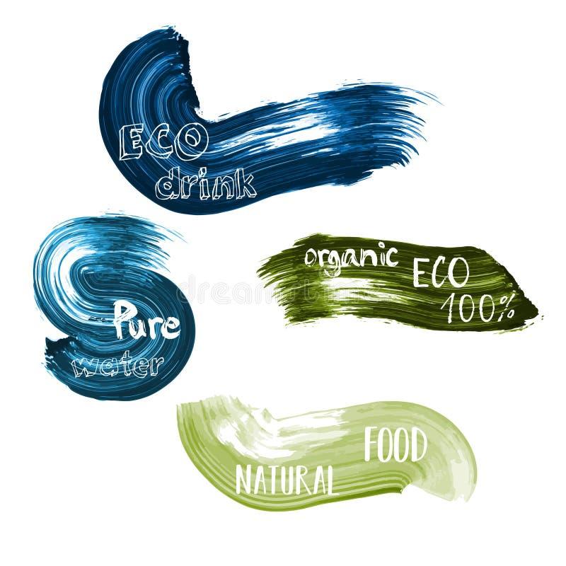 Gröna och blåa lables för Eco mat Vektorillustrationsamling med ren textbokstävertypografi, organiskt, drink som är bio stock illustrationer