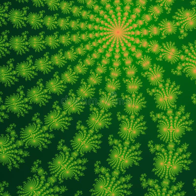 Gröna och orange fractalprydnader i mörker - grön bakgrund dator frambragda diagram royaltyfria bilder