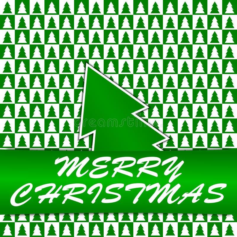 Gröna och vita fyrkanter med julgranar - Chr royaltyfri illustrationer