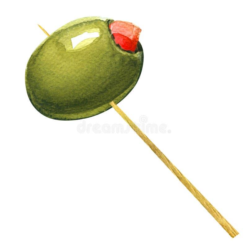 Gröna oliv som är välfyllda med peppar på tandpetare stock illustrationer