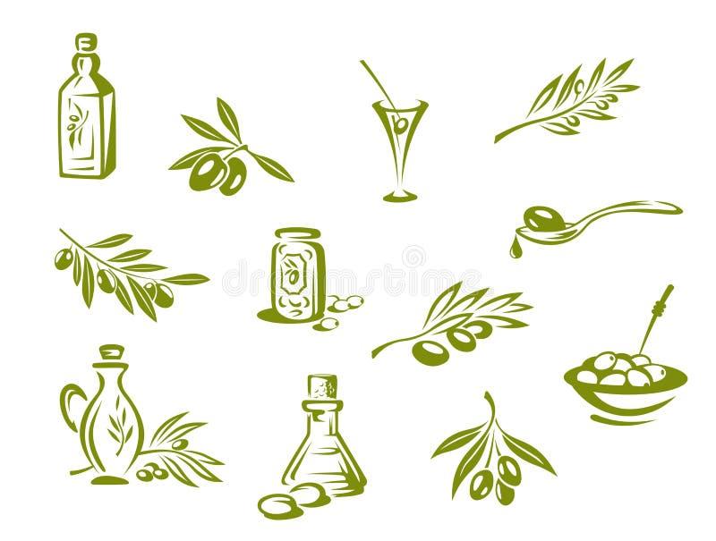 Gröna olivgrön och organisk olja royaltyfri illustrationer