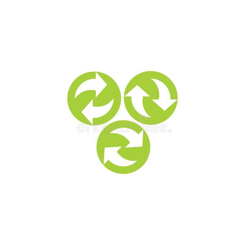 Gröna pilar i cirkellogo royaltyfri illustrationer