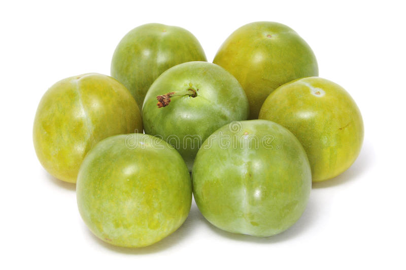 gröna plommoner arkivfoto