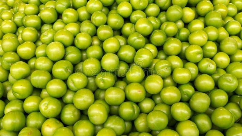 Gröna plommoner, bakgrund royaltyfri foto
