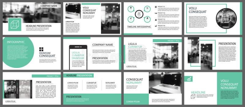 Gröna presentationsmallar för bac för glidbanainfographicsbeståndsdelar royaltyfri illustrationer