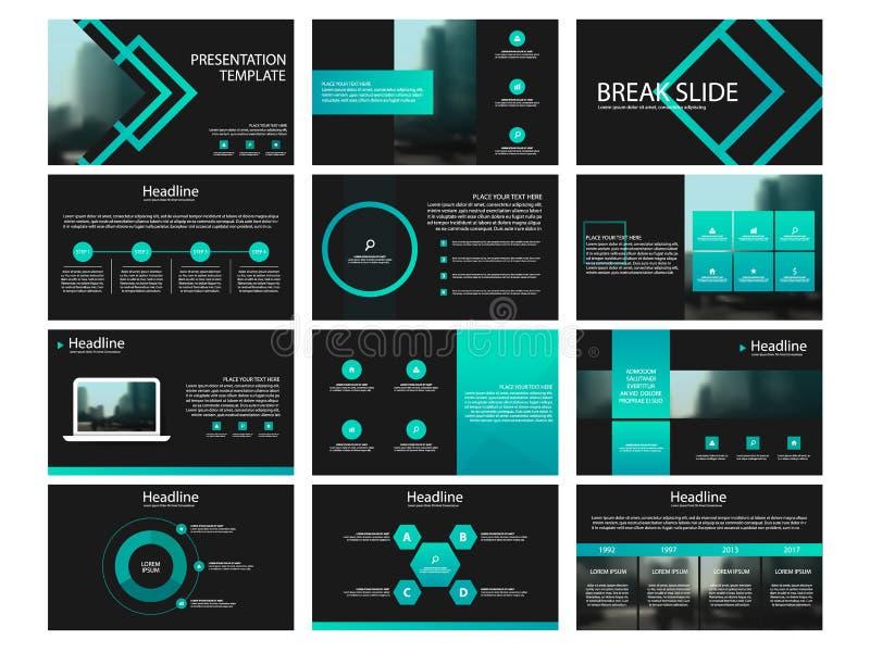 Gröna presentationsmallbeståndsdelar på en svart bakgrund Abstrakt bakgrundskort och linjer Bruk i presentation, reklamblad och b royaltyfri illustrationer