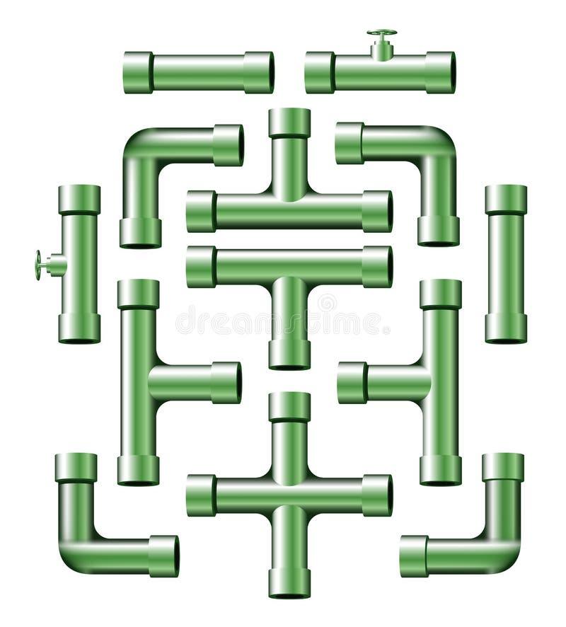 gröna rør stock illustrationer