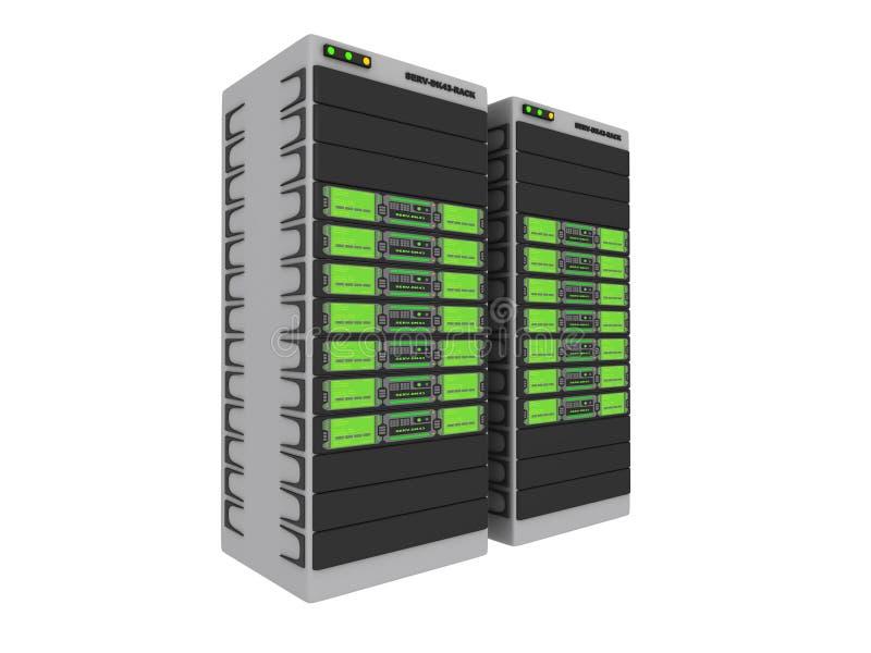 gröna serveror 1 3d stock illustrationer