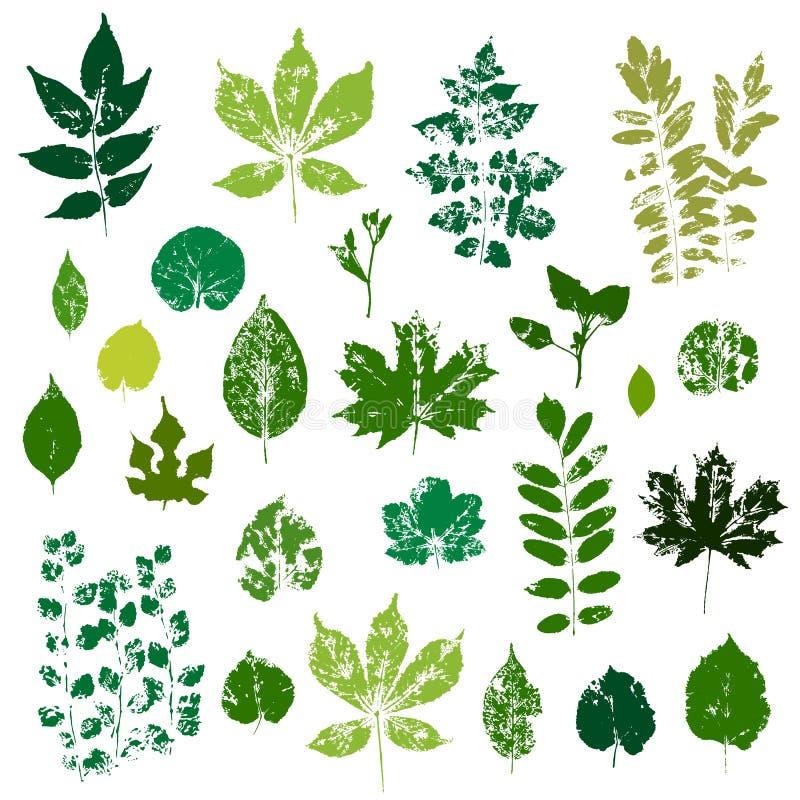 Gröna sidaavtryckar ställde in isolerat på den vita bakgrundsvektorn royaltyfri illustrationer