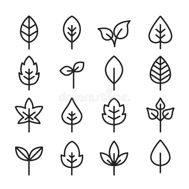 Gröna sidasymboler - tunna linjer stock illustrationer