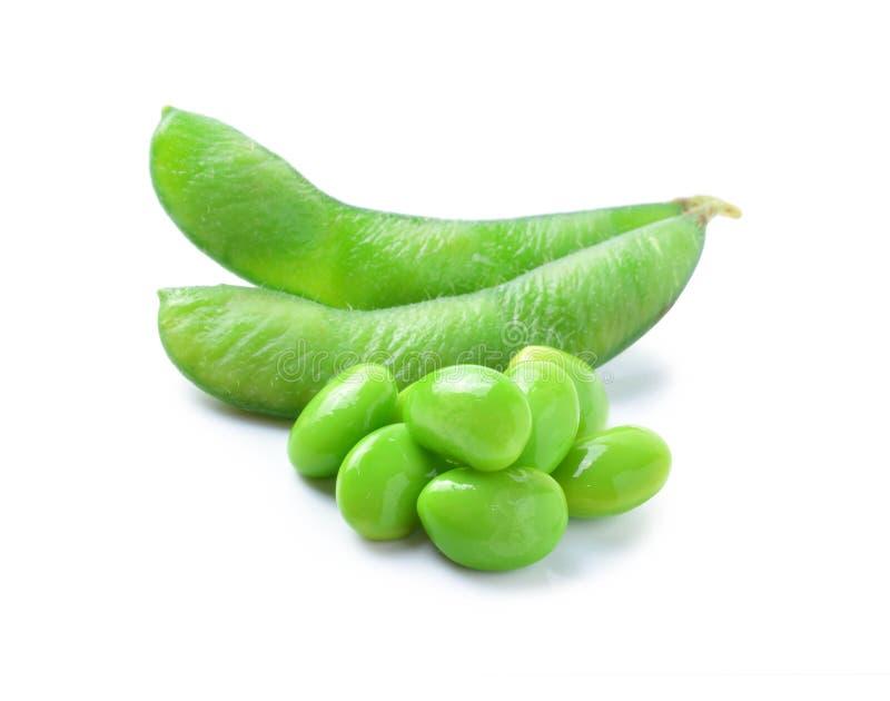 Gröna sojabönor på vit bakgrund arkivfoton
