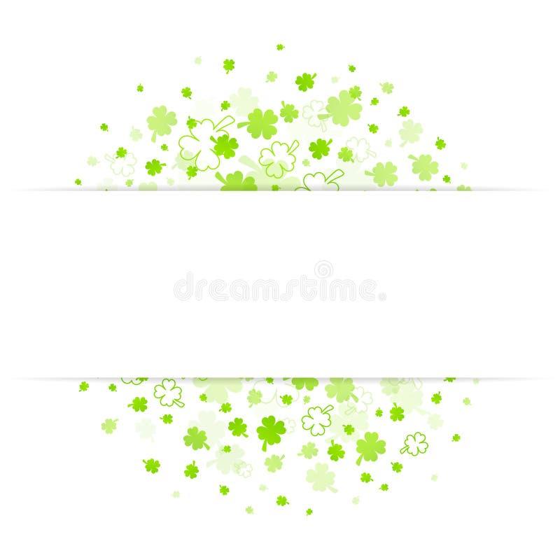 Gröna stora och små växt av släktet Trifoliumsidor med det mellersta banret royaltyfri illustrationer