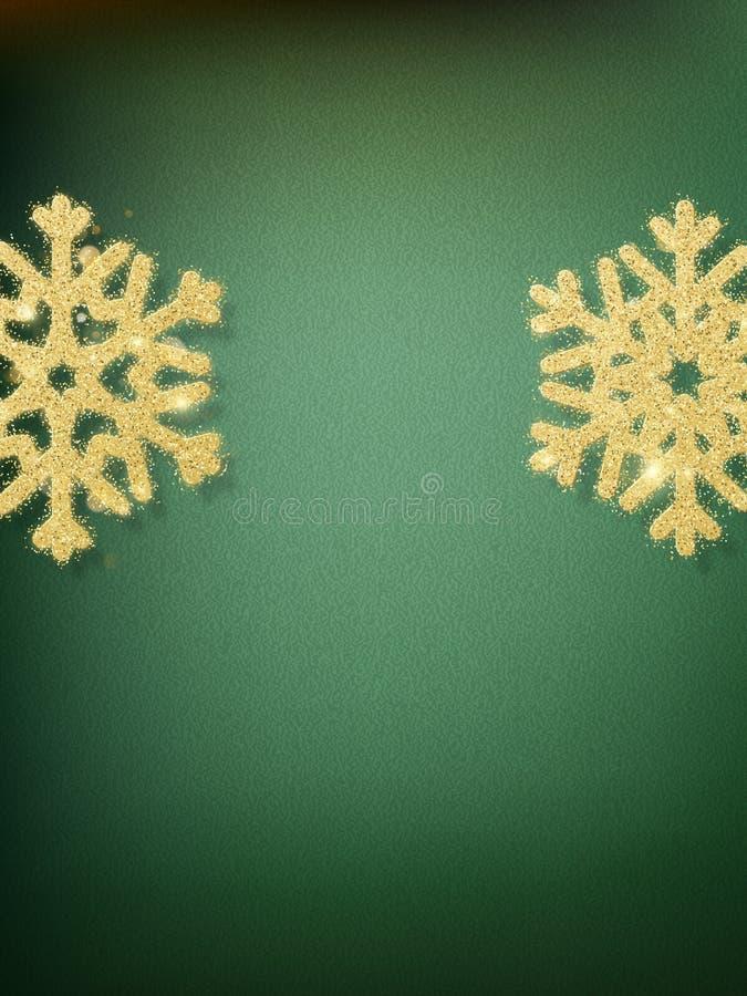 Gröna suddiga bokehljus för beröm för jul och för nytt år Magisk mall med glittery bakgrund och stock illustrationer
