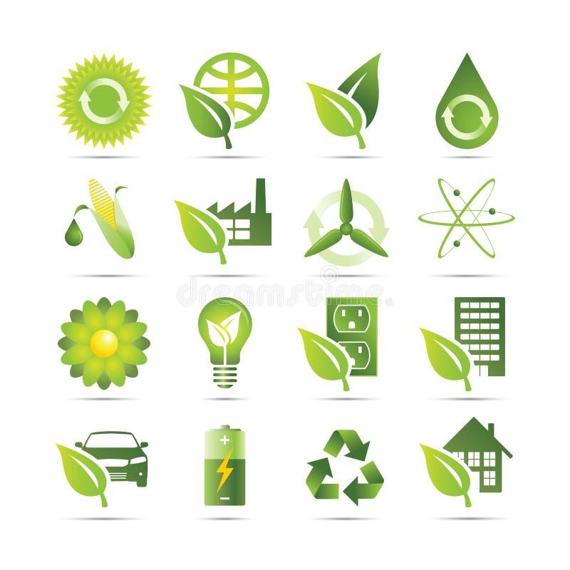 gröna symboler stock illustrationer