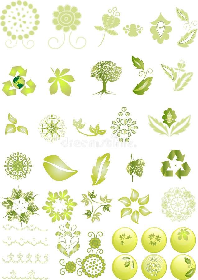 gröna symboler för diagram stock illustrationer