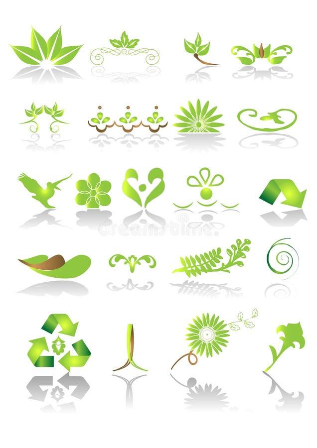 gröna symboler för diagram royaltyfri illustrationer
