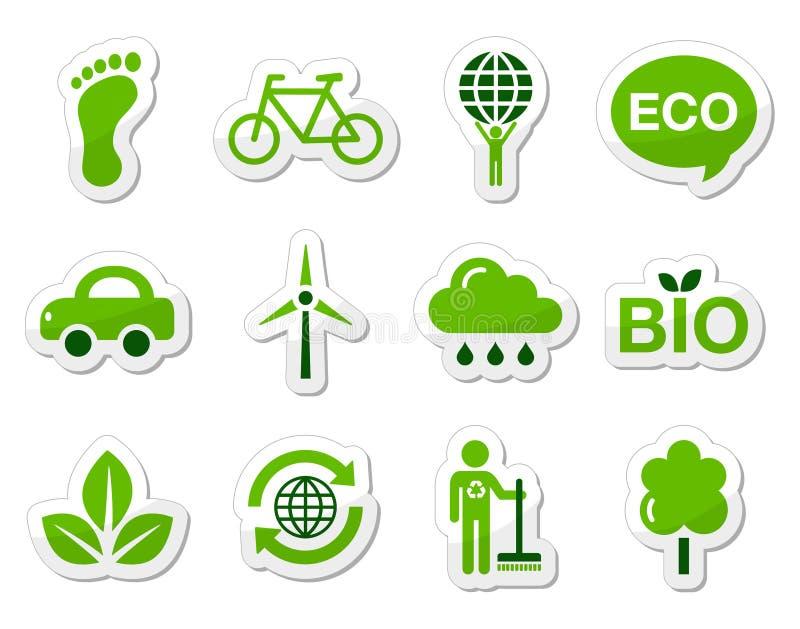 gröna symboler för eco stock illustrationer
