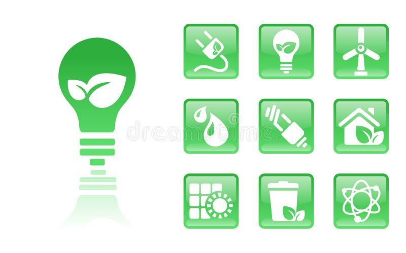gröna symboler för kula stock illustrationer