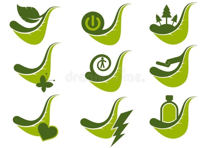 gröna symbolssymboler för eco royaltyfri illustrationer