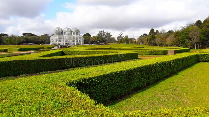 Gröna trädgårdar av den Curitiba botaniska trädgården, Brasilien royaltyfria bilder