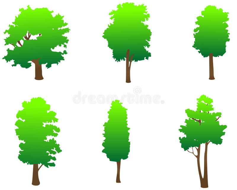 gröna trees royaltyfri illustrationer