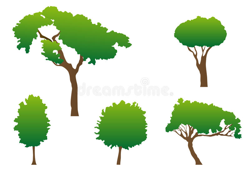 gröna trees vektor illustrationer