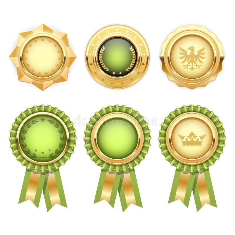 Gröna utmärkelserosetter med den guld- heraldiska medaljen stock illustrationer