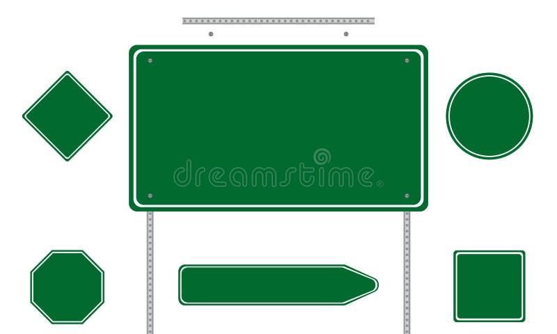 gröna vägmärken royaltyfri illustrationer