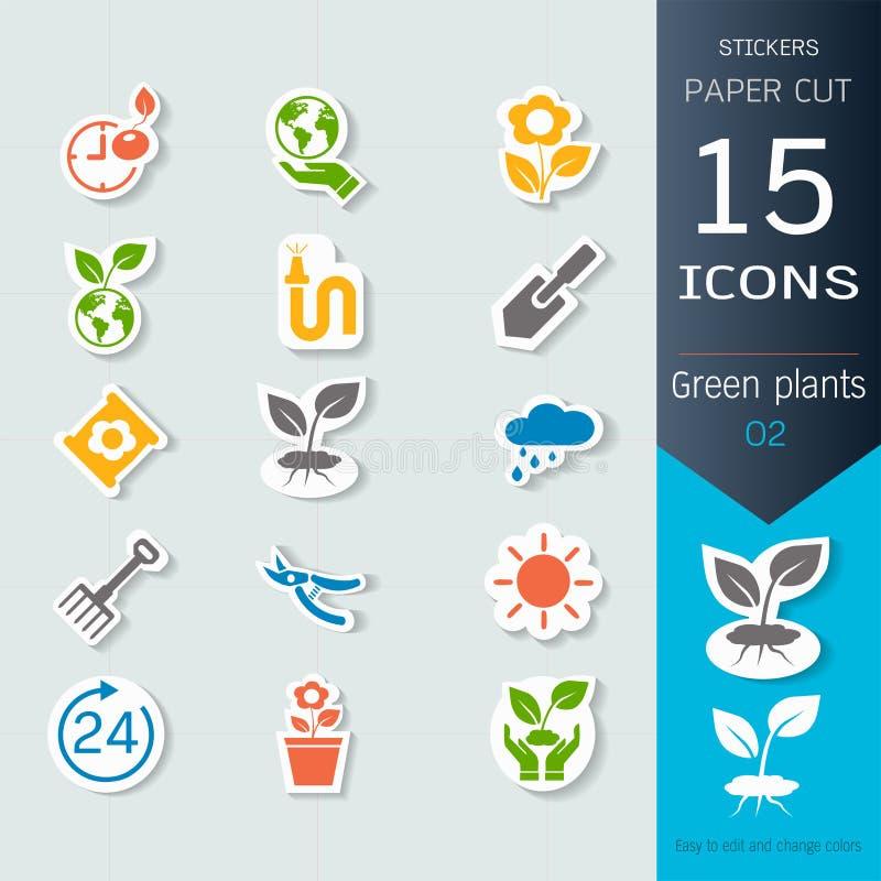 Gröna växter och grodden som växer infographic symboler, ställde in, vektorillustrationklistermärkear och papperssnittstil stock illustrationer
