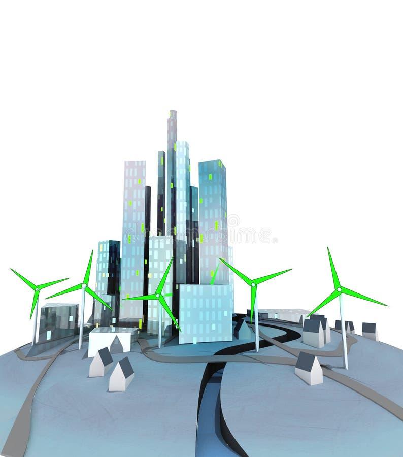 Gröna windmills frambringar elektricitet för ekologisk stad vektor illustrationer